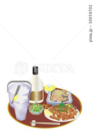 今日の晩酌酎ハイとホルモン焼きのイラスト素材 [30059702] - PIXTA