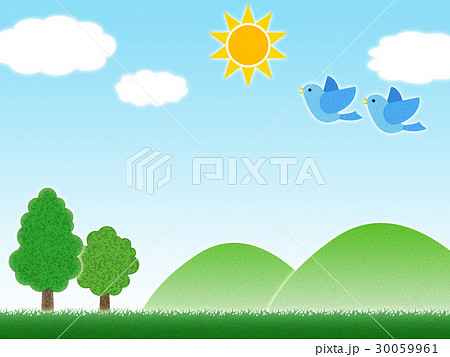 草原と山と木のイラスト素材 30059961 Pixta