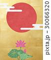 和を感じる背景素材 金箔、蓮、日の丸 30066320
