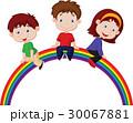 Cartoon children sitting on rainbow 30067881