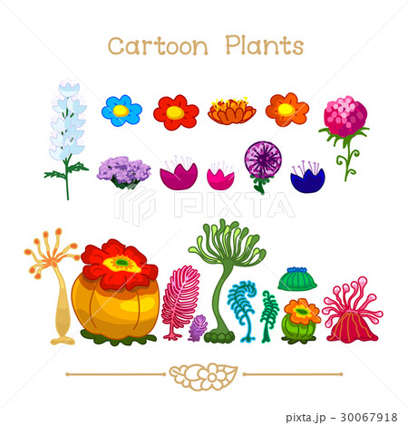 Cartoon Plants. Zoophytes and flowers set. 30067918