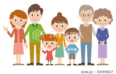 家族 3世代7人のイラスト素材 30069827 Pixta