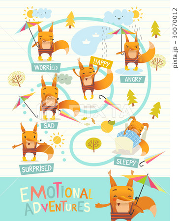 Funny fox with colorful umbrella expressing 30070012