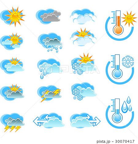 Weather forecast icons and thermometers 30070417