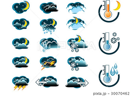 Night weather forecast icon set and thermometers 30070462