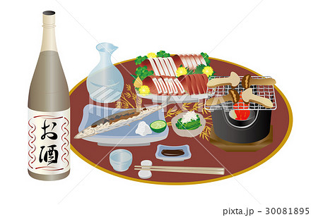 今日の晩酌日本酒と松茸の網焼き 30081895