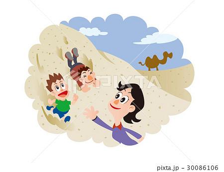 砂丘で遊ぶ親子 30086106