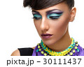 Beautiful girl with bright vivid purple make-up  30111437