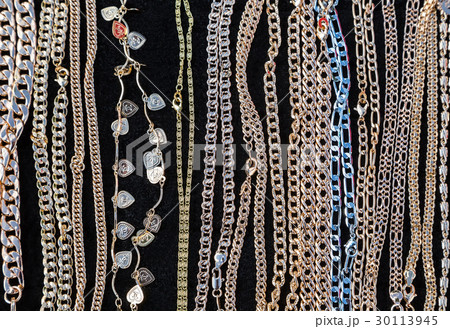 Gold jewelry chain productsの写真素材 [30113945] - PIXTA