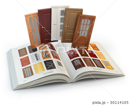 Selection of wooden doors by catalog with samples 30114105