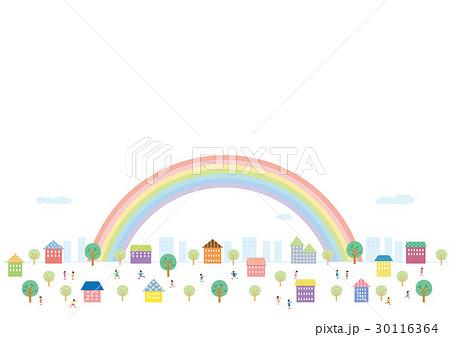 素材-街並み,虹,こども 30116364
