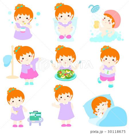 Healthy hygiene for girl cartoon vector 30118675
