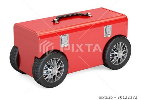 Toolbox on car wheels, 3D renderingのイラスト素材 [30122372] - PIXTA