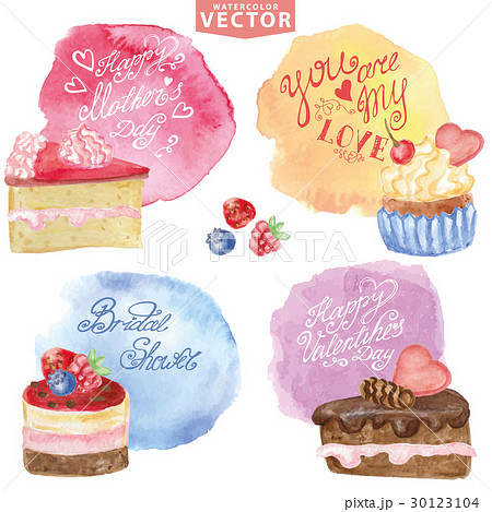 Watercolor sweet cakes.Holiday carts set 30123104