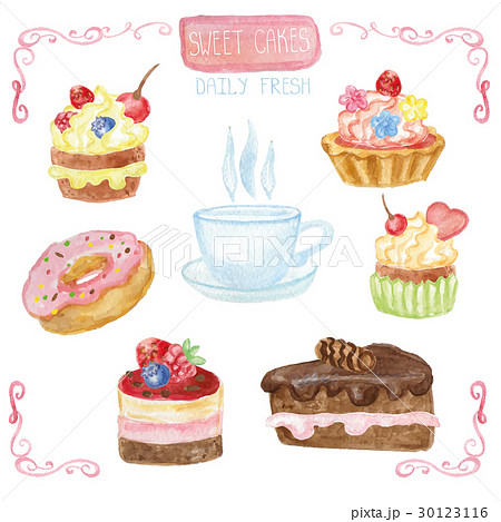 Watercolor sweet cakes set with cap 30123116