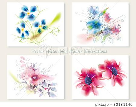 水彩風 花のイラストセット1 30131146