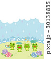 梅雨の日の街並みとカエル 30138835