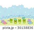 梅雨の日の街並みとカエル 30138836