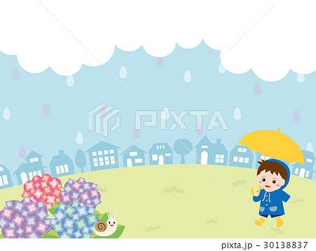 梅雨の日の街並みとこども 30138837