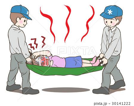担架で運ばれる熱中症の女性 30141222