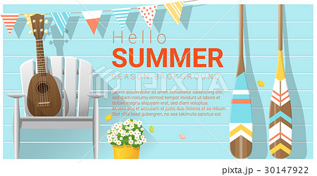 Hello summer background with ukulele on a chairのイラスト素材 [30147922] - PIXTA
