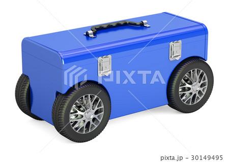 Blue toolbox on car wheels, 3D renderingのイラスト素材 [30149495] - PIXTA