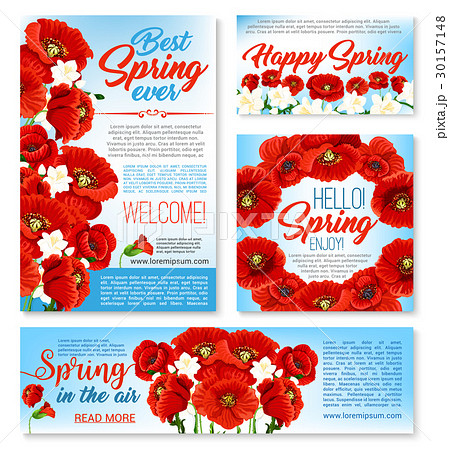 hello spring floral banner card poster templateのイラスト素材