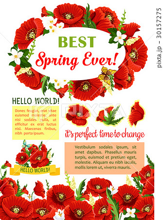 spring flower wreath for poster template designのイラスト素材