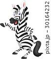 Cute zebra cartoon waving hand 30164232