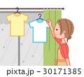 女性 洗濯物 部屋干しのイラスト 30171385