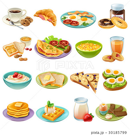 Breakfast Brunch Menu Food Icons Set 30185799