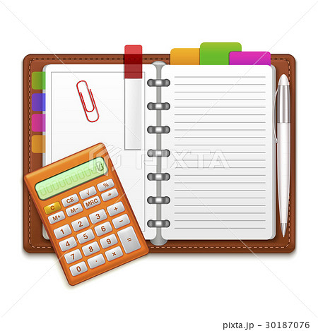 realistic organizer notebook color stickers andのイラスト素材