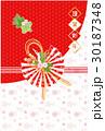 鶴と亀の水引き 年賀状  30187348