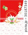 鶴と亀の水引き 年賀状  30187349