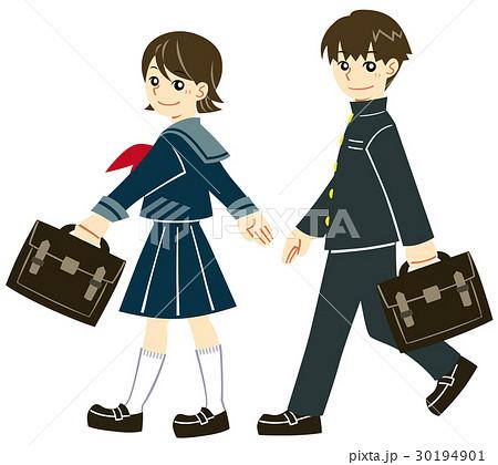 通学 歩く学生服の男女のイラスト素材