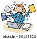 ビジネスウーマン 女性 デスクワークのイラスト 30198828
