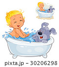 Vector little baby taking a bath with his dog and 30206298