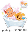 Vector little baby taking a bath and playing with 30206302