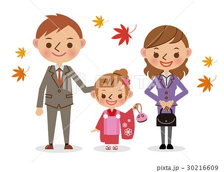 家族で七五三 三歳女児  30216609