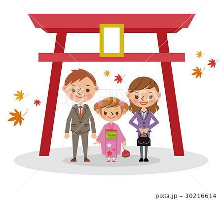 神社で七五三 七歳女児  30216614
