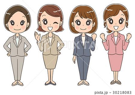 スーツを着た女性のイラスト全身のイラスト素材 30218083 Pixta