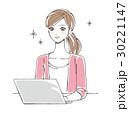 女性 インターネット ネットショッピングのイラスト 30221147
