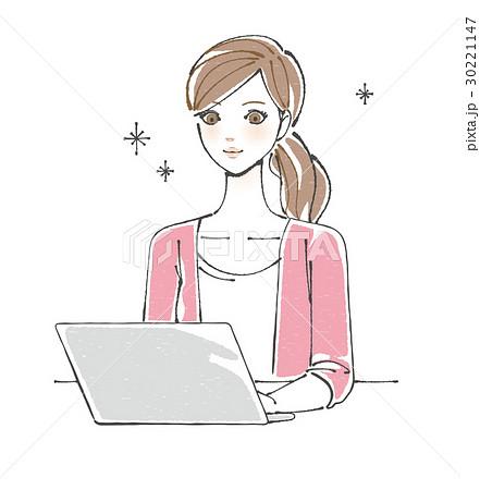 パソコンを楽しむ女性 30221147