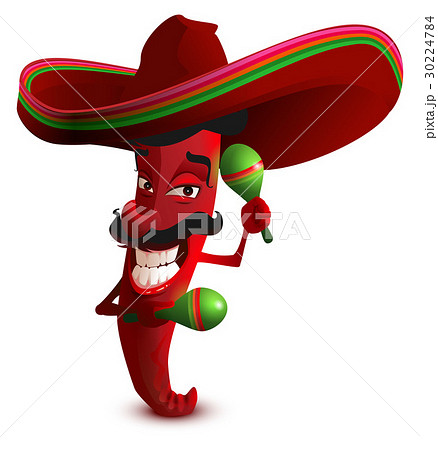 Red hot chili peppers in Mexican hat sombrero 30224784
