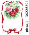 赤いリボンとバラのメッセージカード 30226804