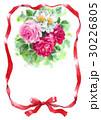 赤いリボンとバラのメッセージカード 30226805