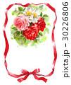 赤いリボンとバラのメッセージカード 30226806