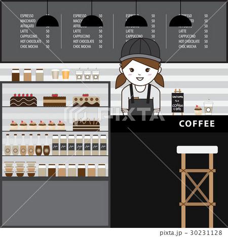 Interior design of a modern coffee shop.のイラスト素材 [30231128] - PIXTA