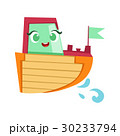 Green, Red And Orange Boat, Cute Girly Toy Wooden 30233794