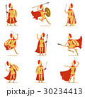 Spartan Soldier In Golden Armor And Red Cape Set 30234413